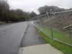 Temporary fencing at the high school