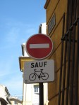 No entry, except bicycles
