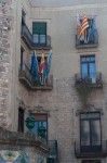 Flags in the Plaça de Cucurulla