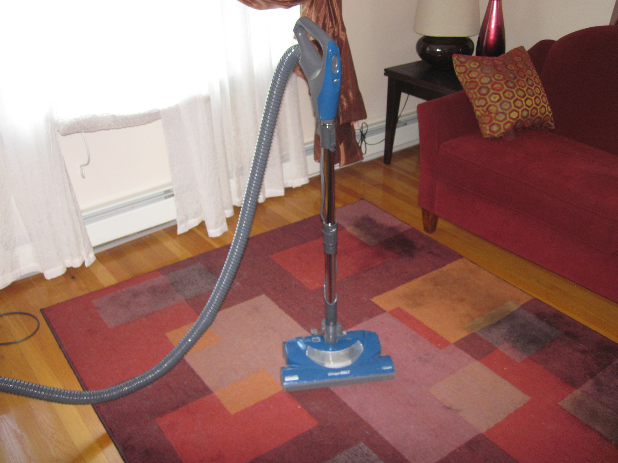 The carpets needed a good hoovering.