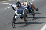 2013 Boston Marathon men's wheelchair leaders at mile 10