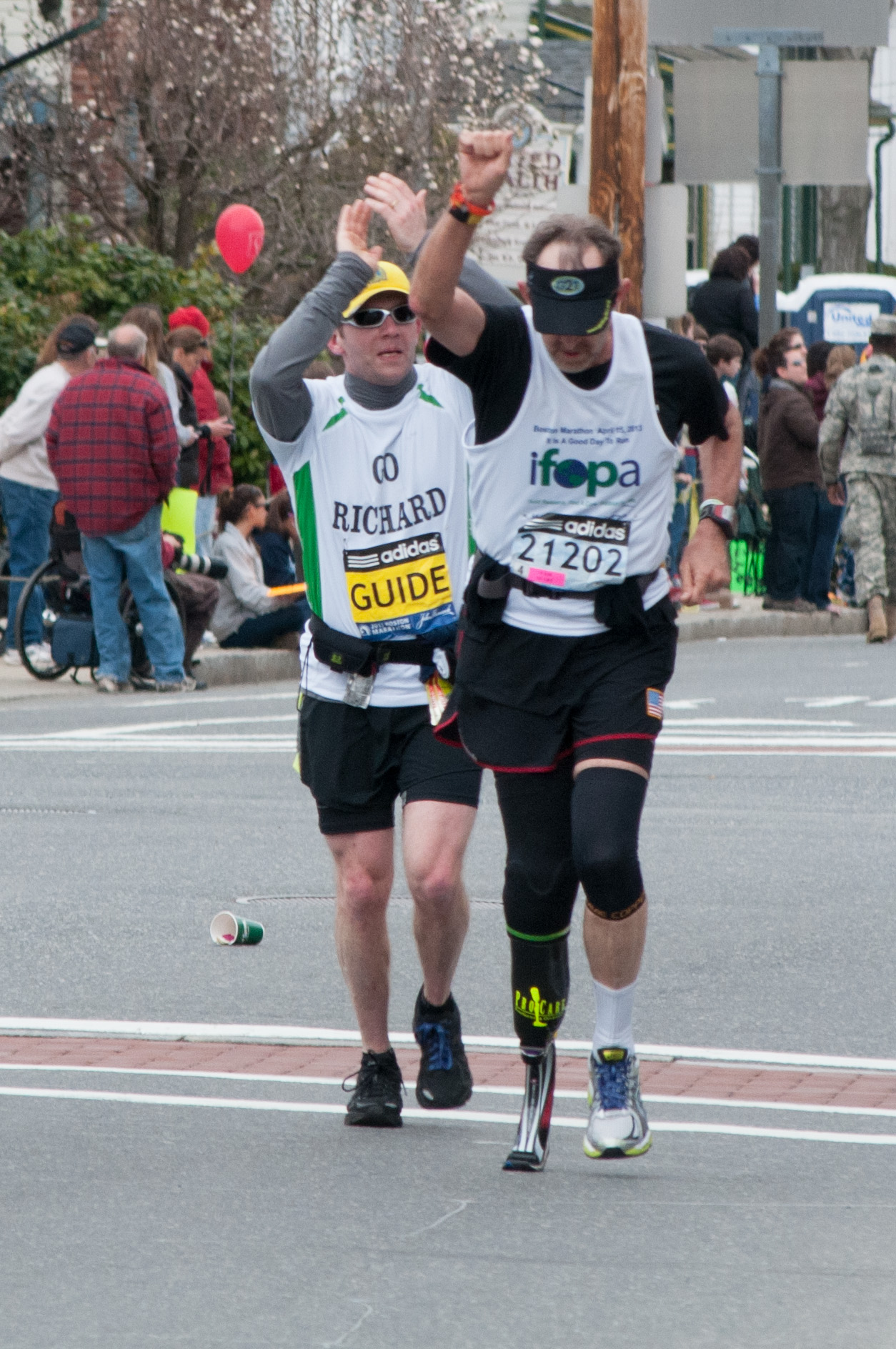 Richard Blalock at mile 10 of the 2013 Boston Marathon