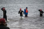 Finishing the swim