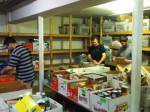 Sorting donations at the food pantry