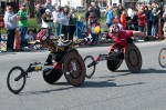 Men's pushrim wheelchair racers, 2014 Boston Marathon