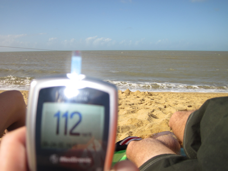 112 mg/dL reading at the beach