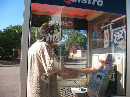 Me in a phone booth calling Minimed in Australia