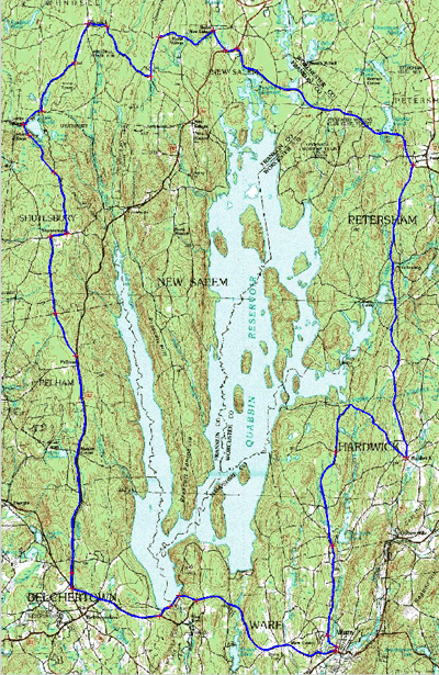 Map of a 67-mile cycling route around the Quabbin Reservoir - Central Massachusetts