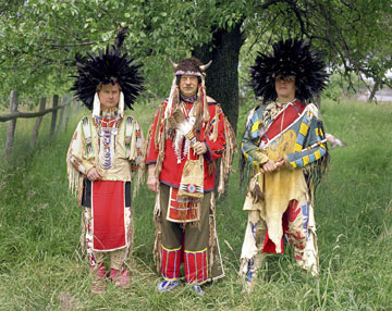 Three German reenactors outside Cologne dressed as Native American Men