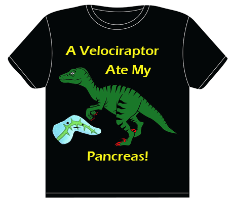 A T-shirt that says 'A Velociraptor Ate My Pancreas'
